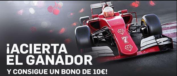 Juega 20€ en juegos de casino, acierta el ganador del Gran Premio de F1 de Hungría y obtén un bono de 10€