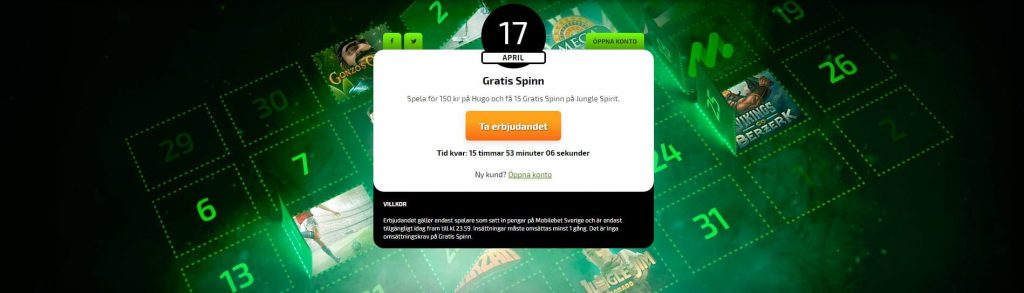 Spela med bonus och free spins hos Mobilebet casino